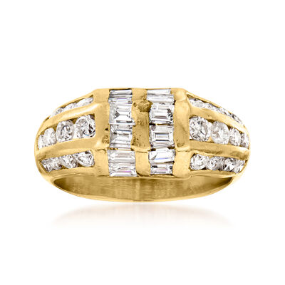 C. 1980 Vintage 2.10 ct. t.w. Diamond Fashion Ring in 14kt Yellow Gold