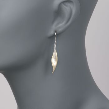 Simon G .13 Carat Total Weight Diamond Leaf Drops in 18-Karat White and Yellow Gold