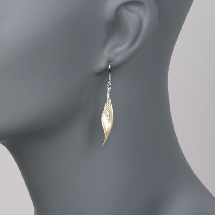 Simon G. .13 ct. t.w. Diamond Leaf Earrings in 18kt Yellow and White Gold