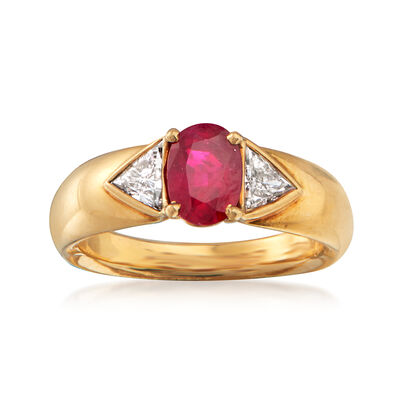 C. 1980 Vintage Cartier 1.20 Carat Ruby and .40 ct. t.w. Diamond Ring in 18kt Yellow Gold