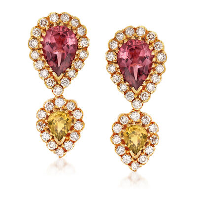 C. 1980 Vintage 1.80 ct. t.w. Pink Tourmaline, .60 ct. t.w. Simulated Yellow Tourmaline and 1.00 ct. t.w. Diamond Drop Earrings in 18kt Yellow Gold, , default