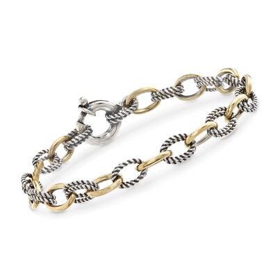 "Phillip Gavriel ""Italian Cable"" Sterling Silver and 18kt Gold Cable-Link Bracelet"