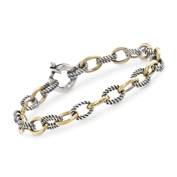 "Phillip Gavriel ""Italian Cable"" Sterling Silver and 18kt Gold Cable-Link Bracelet. 7.25"", , default"