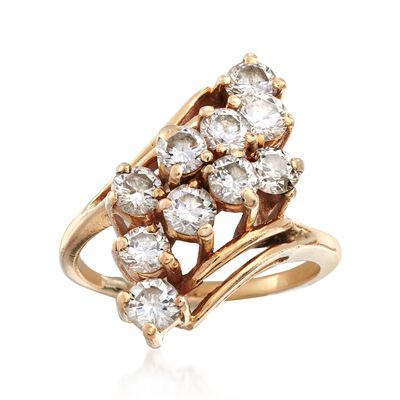 C. 1980 Vintage 2.00 ct. t.w. Diamond Diagonal Cluster Ring in 14kt Yellow Gold, , default