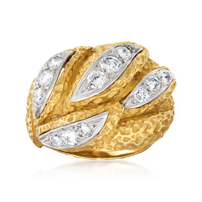 C. 1970 Vintage 1.05 ct. t.w. Diamond Dome Ring in 18kt Yellow Gold, , default