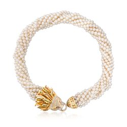 C. 1990 Vintage 5mm Cultured Pearl and 2.00 ct. t.w. Multi-Stone Lion Necklace in 14kt Yellow Gold, , default