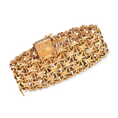 C. 1970 Vintage 18kt Yellow Gold Wide Basketweave Bracelet, , default