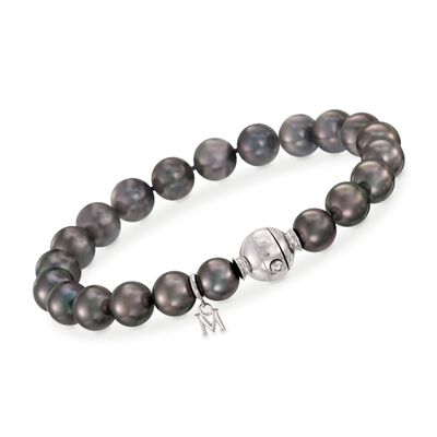Mikimoto 8-9mm A+ Black South Sea Pearl Bracelet with Diamond Accent and 18kt White Gold