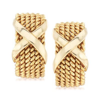 C. 1980 Vintage Tiffany Jewelry Schlumberger Roped X Clip-On Earrings in 18kt Yellow Gold, , default