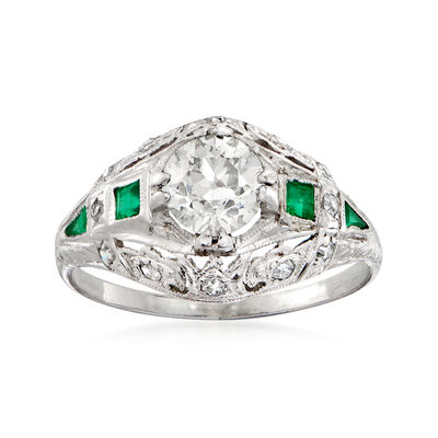 C. 1940 Vintage 1.20 ct. t.w. Diamond and Emerald-Accented Ring in Platinum