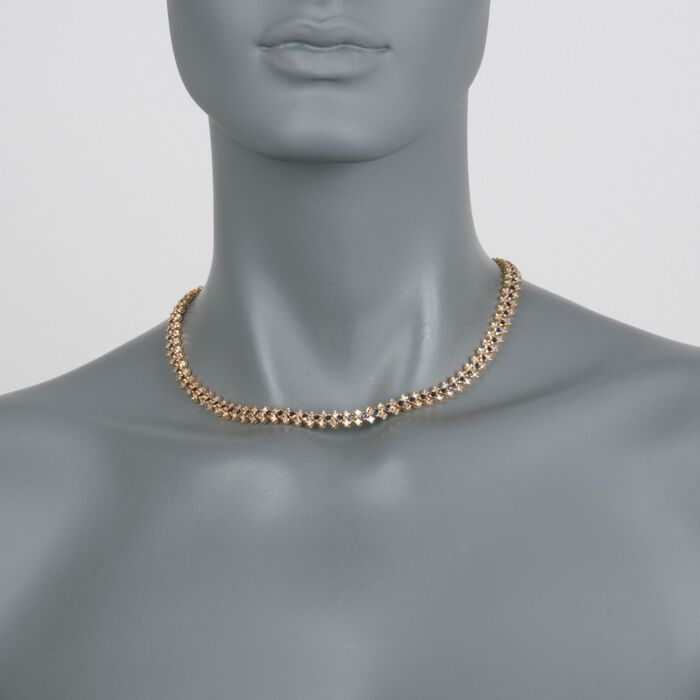 """C. 1990 Vintage 8.90 ct. t.w. Diamond and 4.40 ct. t.w. Sapphire Necklace in 18kt Yellow Gold. 16"""""""