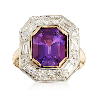 C. 1980 Vintage 4.95 Carat Amethyst and 1.10 ct. t.w. Diamond Ring in 14kt Yellow Gold, , default