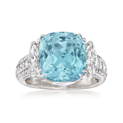 C. 1980 Vintage 6.38 Carat Aquamarine and 1.55 ct. t.w. Diamond Ring in 18kt White Gold