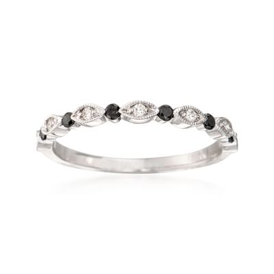 Henri Daussi .20 ct. t.w. Black and White Diamond Wedding Ring in 18kt White Gold