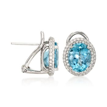 Simon G. 4.87 Carat Total Weight Aquamarine and .62 Carat Total Weight Diamond Studs, , default