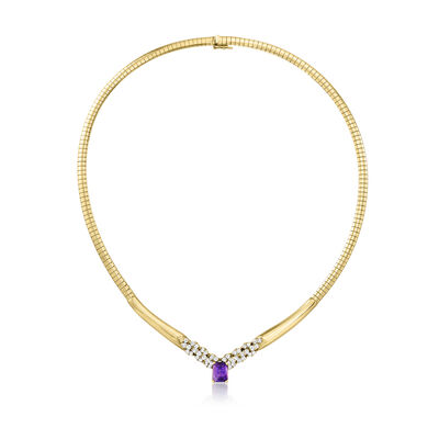C. 1980 Vintage 2.20 Carat Amethyst and 1.05 ct. t.w. Diamond Omega Necklace in 14kt Yellow Gold