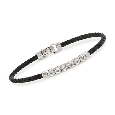 "ALOR ""Burano"" 1.30 ct. t.w. White Topaz Black Cable Bracelet With 14kt White Gold, , default"