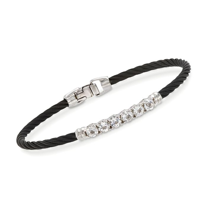 "ALOR Burano 1.30 Carat Total Weight White Topaz Black Cable Bracelet With 14-Karat White Gold. 7"", , default"