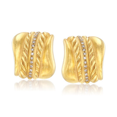 C. 1980 Vintage .60 ct. t.w. Diamond Earrings in 18kt Yellow Gold, , default
