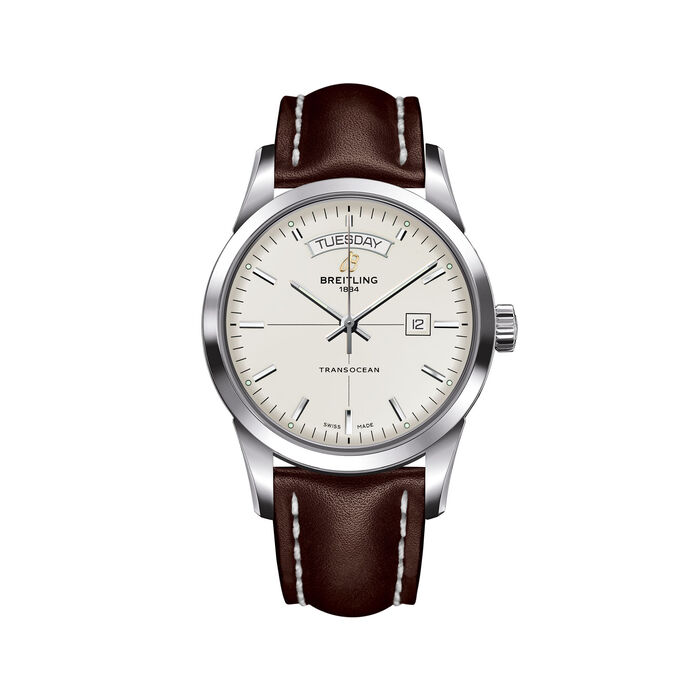 Breitling Transocean Day-Date Men's 43mm Stainless Steel Watch - Brown Leather Strap, , default