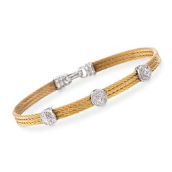 "ALOR ""Classique"" .14 ct. t.w. Diamond Triple-Station Yellow Cable Bracelet With 18kt White Gold, , default"