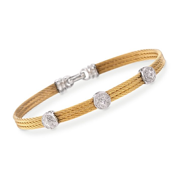 """ALOR Classique .14 Carat Total Weight Diamond Triple-Station Bracelet in Yellow Stainless Steel and 18-Karat White Gold  . 7"""", , default"""