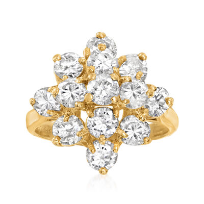 C. 1980 Vintage 3.00 ct. t.w. Diamond Cluster Ring in 14kt Yellow Gold