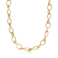 C. 1980 Vintage 14kt Yellow Gold Textured Cable Link Necklace, , default