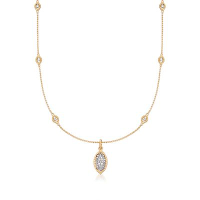"Roberto Coin ""Barocco"" .64 ct. t.w. Diamond Station Necklace in 18kt Two-Tone Gold, , default"