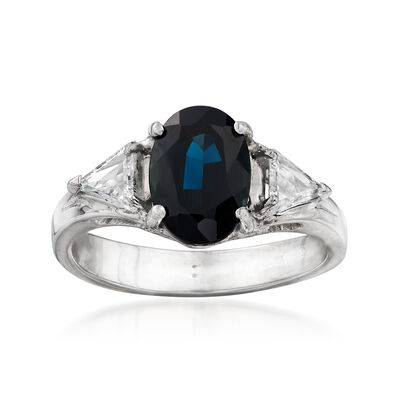 C. 1980 Vintage 2.12 Carat Sapphire and .50 ct. t.w. Diamond Ring in 18kt White Gold, , default