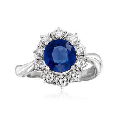 C. 2000 Vintage 1.84 Carat Sapphire and .66 ct. t.w. Diamond Ring in Platinum, , default