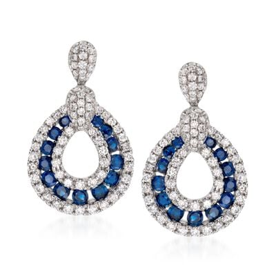 Gregg Ruth .73 ct. t.w. Sapphire and .82 ct. t.w. Diamond Drop Earrings in 18kt White Gold, , default