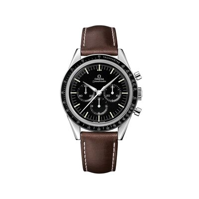Omega Speedmaster 1962 Moonwatch Men's 39.7mm Mechanical Chronograph Stainless Steel Watch with Brown Leather, , default