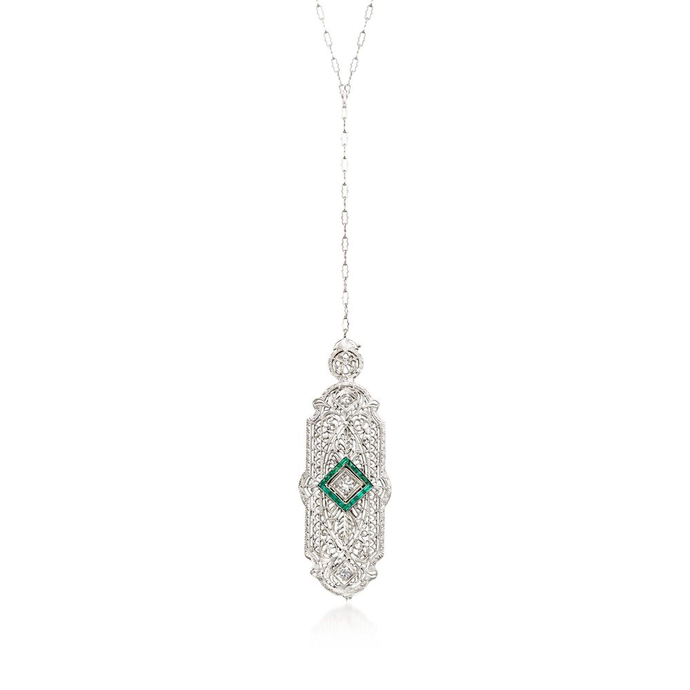 96c881c848303 C. 1950 Vintage .20 ct. t.w. Synthetic Emerald and .25 ct. t.w. Diamond Pin  Pendant Necklace in 14kt White Gold. 22