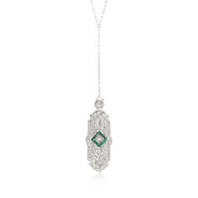 C. 1950 Vintage .20 ct. t.w. Synthetic Emerald and .25 ct. t.w. Diamond Pin Pendant Necklace in 14kt White Gold, , default