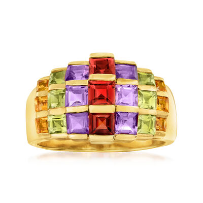 C. 1990 Vintage 3.05 ct. t.w. Multi-Gem Cluster Ring in 14kt Yellow Gold