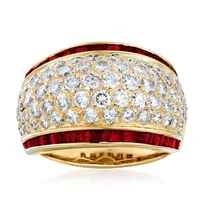 C. 1990 Vintage 2.43 ct. t.w. Diamond and 1.60 ct. t.w. Ruby Dome Ring in 18kt Yellow Gold, , default