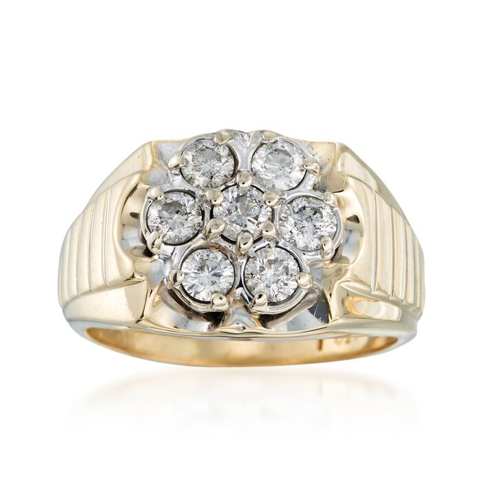 C. 1970 Vintage 1.50 ct. t.w. Diamond Flower Ring in 10kt Yellow Gold. Size 11.5