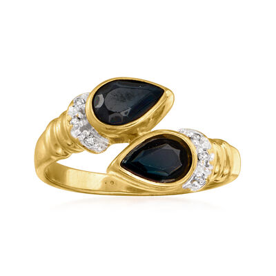 C. 1980 Vintage .90 ct. t.w. Sapphire Bypass Ring with Diamond Accents in 14kt Yellow Gold