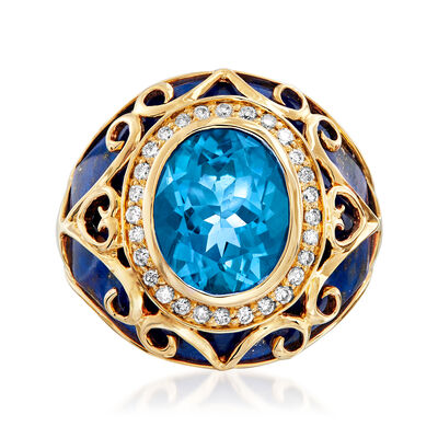 Lapis, 3.30 Carat Swiss Blue Topaz and .21 ct. t.w. Diamond Ring in 14kt Yellow Gold
