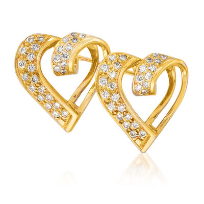 C. 1980 Vintage 1.00 ct. t.w. Diamond Double- Heart Pin in 18kt Yellow Gold, , default