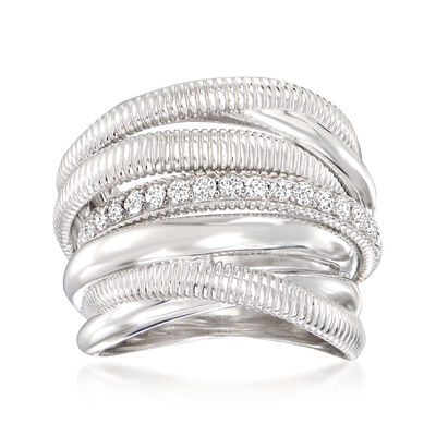 """Judith Ripka """"Eternity"""" .47 ct. t.w. Diamond Seven-Band Highway Ring in Sterling Silver"""