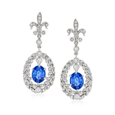 C. 1990 Vintage 3.30 ct. t.w. Sapphire and .55 ct. t.w. Diamond Fleur-De-Lis Drop Earrings in 18kt White Gold