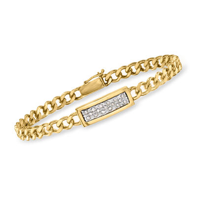 C. 1990 Vintage .15 ct. t.w. Diamond Bar Link Bracelet in 14kt Yellow Gold