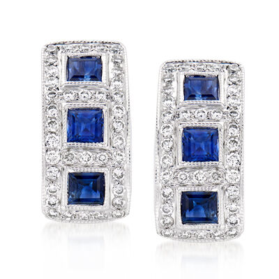 C. 1990 Vintage 2.08 ct. t.w. Sapphire and .74 ct. t.w. Diamond Earrings in 18kt White Gold
