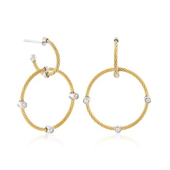 ALOR Classique Yellow Stainless Steel Cable Hoop Drops With Diamonds and 18-Karat White Gold, , default