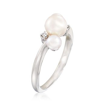"Mikimoto ""Bubbles"" 4-6mm A+ Akoya Pearl Ring With Diamond Accents in 18kt White Gold, , default"