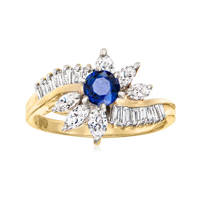 C. 1980 Vintage .35 Carat Sapphire and 1.05 ct. t.w. Diamond Ring in 14kt Yellow Gold