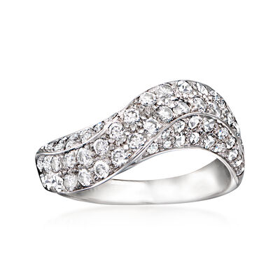C. 1980 Vintage 1.20 ct. t.w. Diamond Wave Ring in 18kt White Gold
