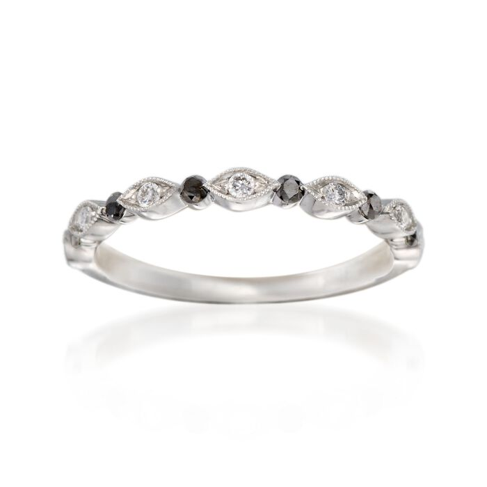 Henri Daussi .20 ct. t.w. Black and White Diamond Wedding Ring in 18kt White Gold, , default
